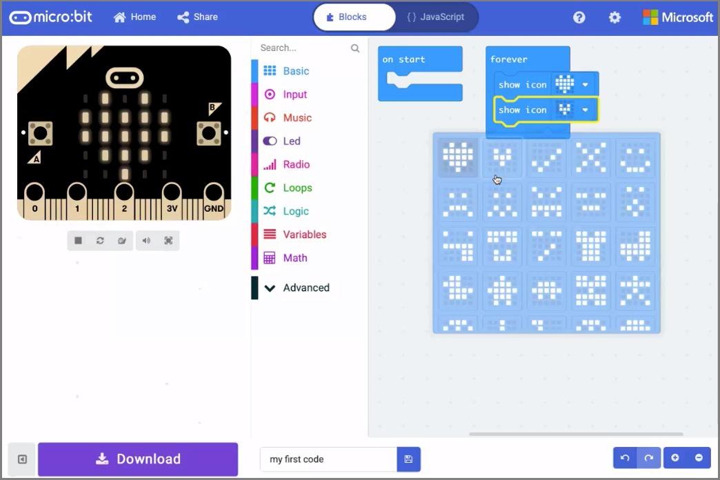 Micro:bitのプログラミング画面